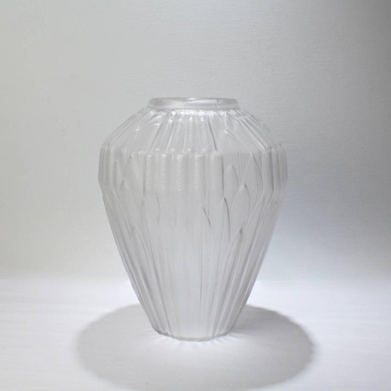 Very Large French Art Deco Frosted Glass Cattails Vase By Hunebelle