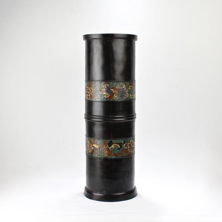 Meiji Large Antique Japanese Bronze Champlevé Enamel Umbrella Stand or Floor Vase For Sale