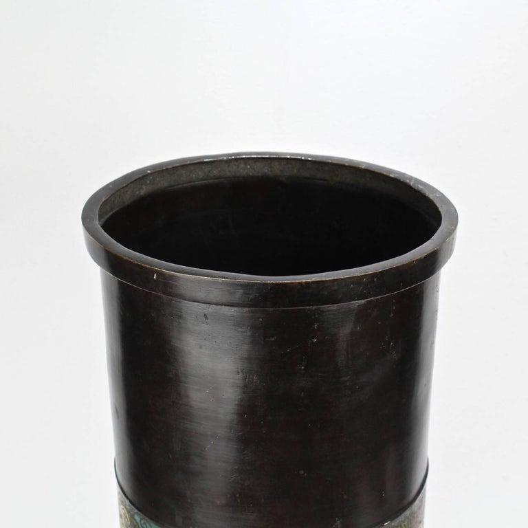 Large Antique Japanese Bronze Champlevé Enamel Umbrella Stand or Floor Vase For Sale 4