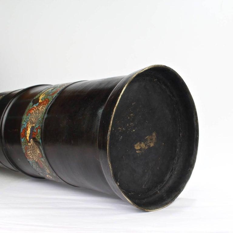 Large Antique Japanese Bronze Champlevé Enamel Umbrella Stand or Floor Vase For Sale 6