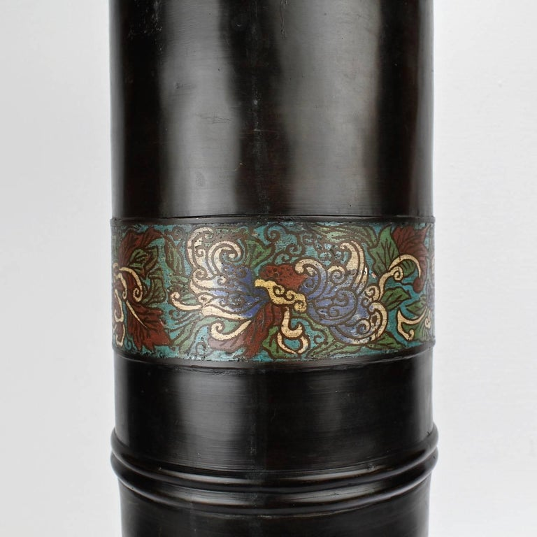 Large Antique Japanese Bronze Champlevé Enamel Umbrella Stand or Floor Vase In Good Condition For Sale In Philadelphia, PA