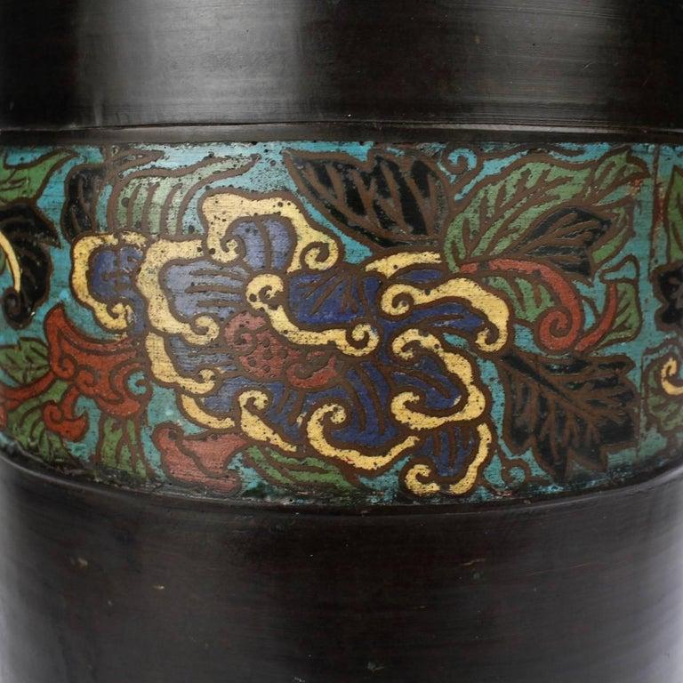 Large Antique Japanese Bronze Champlevé Enamel Umbrella Stand or Floor Vase For Sale 1