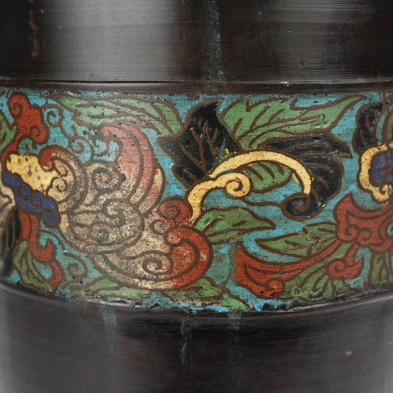 20th Century Large Antique Japanese Bronze Champlevé Enamel Umbrella Stand or Floor Vase For Sale