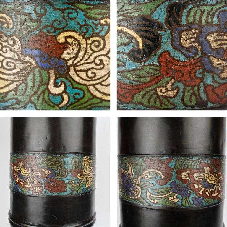Large Antique Japanese Bronze Champlevé Enamel Umbrella Stand or Floor Vase For Sale 2