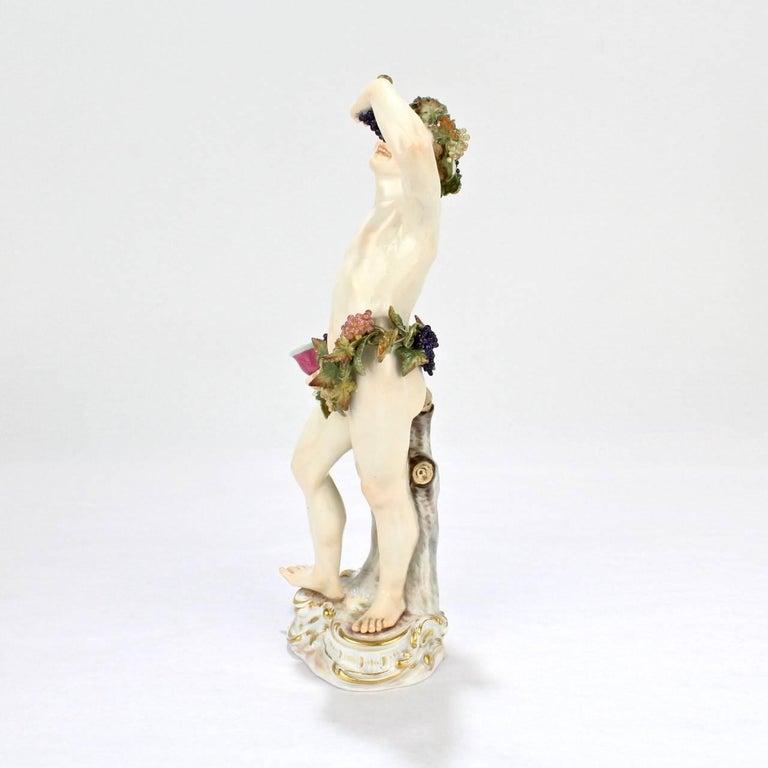 Rococo Antique Meissen Porcelain Allegorical Figurine of Bacchus the God of Wine For Sale