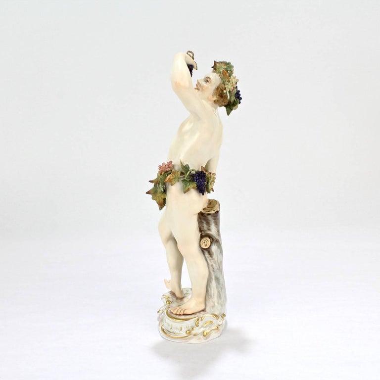 German Antique Meissen Porcelain Allegorical Figurine of Bacchus the God of Wine For Sale