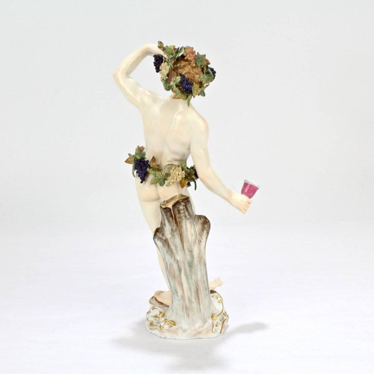 Antique Meissen Porcelain Allegorical Figurine of Bacchus the God of Wine In Good Condition For Sale In Philadelphia, PA
