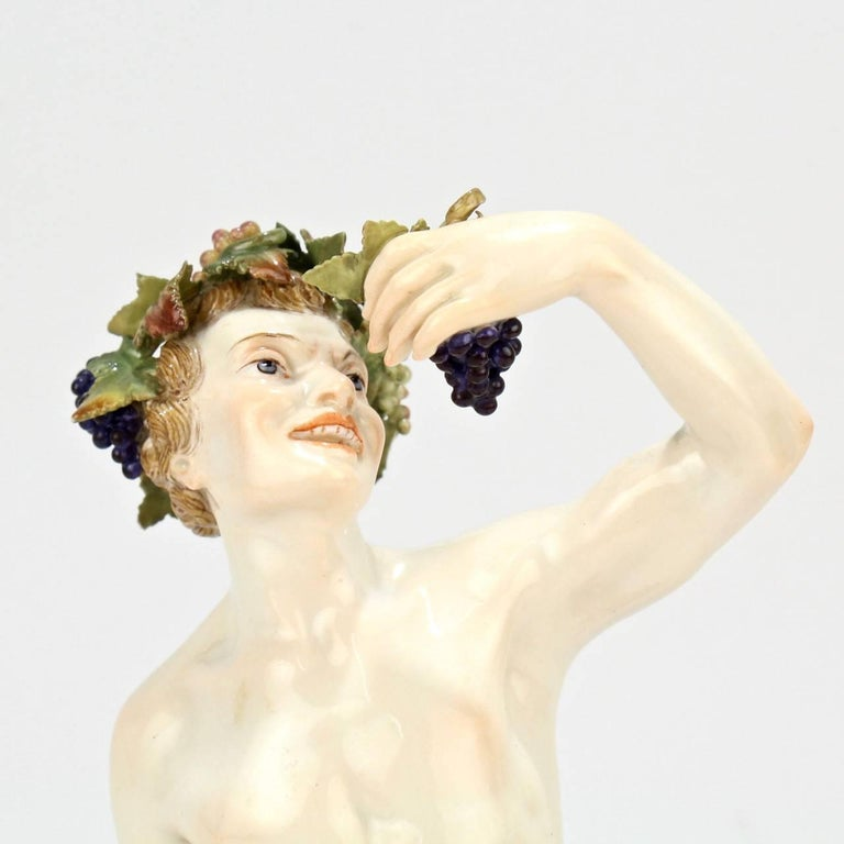 Antique Meissen Porcelain Allegorical Figurine of Bacchus the God of Wine For Sale 1