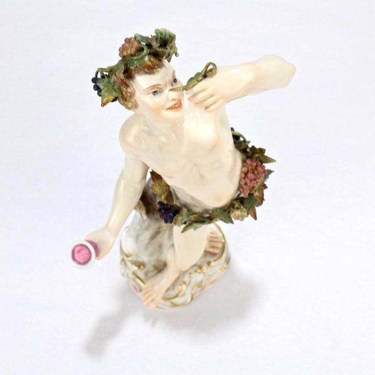 Antique Meissen Porcelain Allegorical Figurine of Bacchus the God of Wine For Sale 2