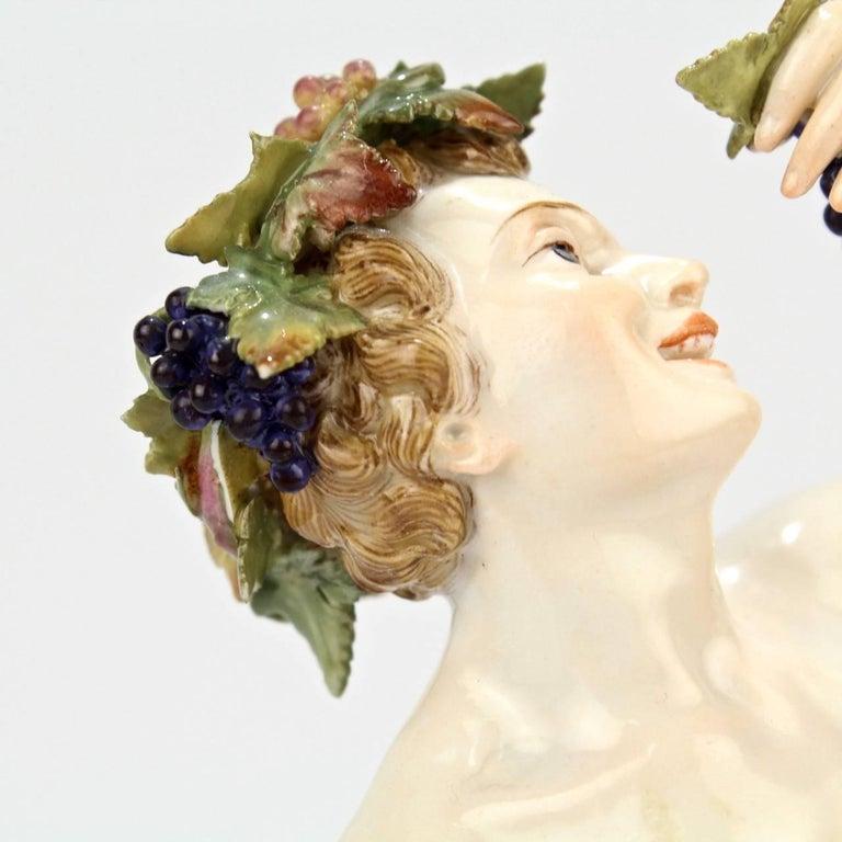 Antique Meissen Porcelain Allegorical Figurine of Bacchus the God of Wine For Sale 5