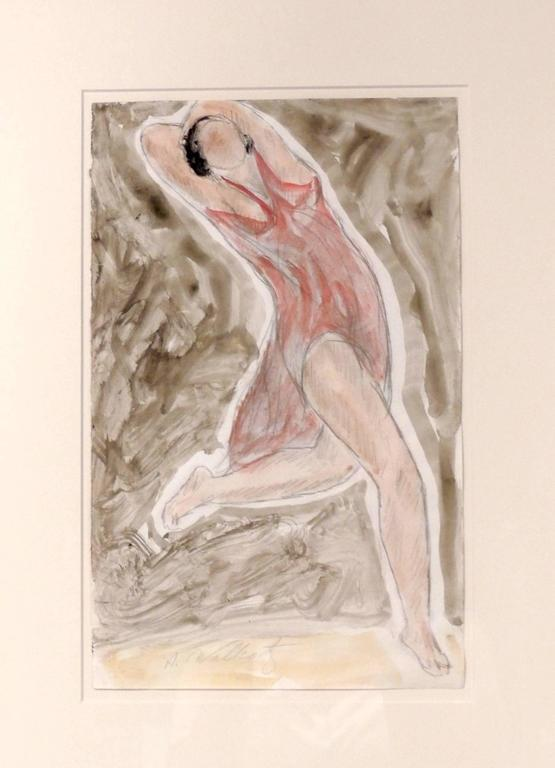 Abraham Walkowitz (1878-1965) had an intimate artistic relationship with the Modernist Dancer Isadora Duncan. He drew her in dance literally thousands of times. This drawing is a free flowing sketch of her in a red dress and is colored with