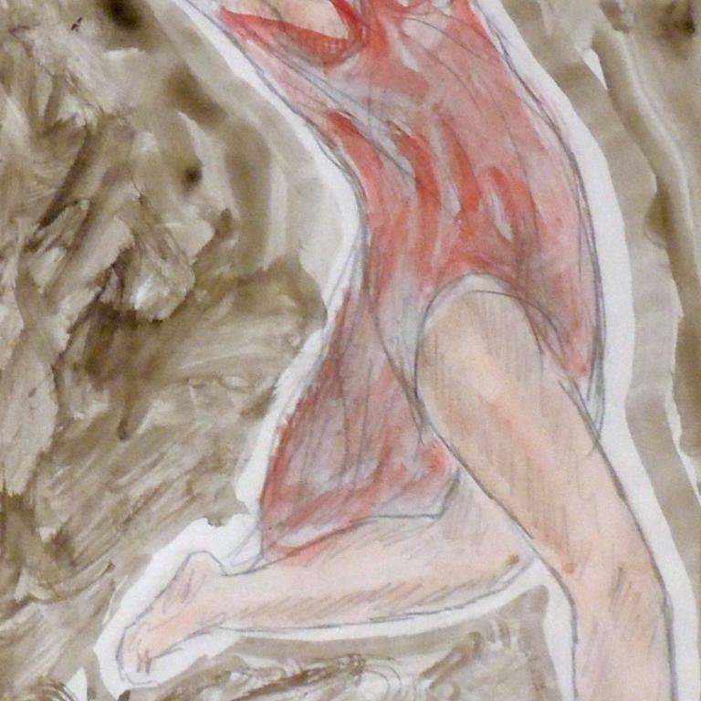 Painted Modernist Watercolored Drawing of Dancer Isadora Duncan, by Abraham Walkowitz For Sale