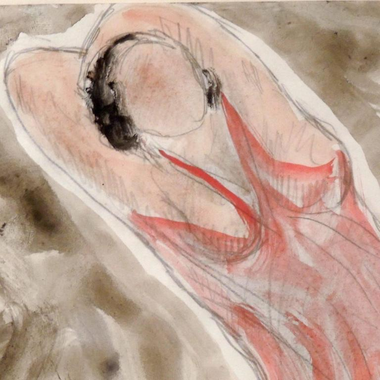 American Modernist Watercolored Drawing of Dancer Isadora Duncan, by Abraham Walkowitz For Sale