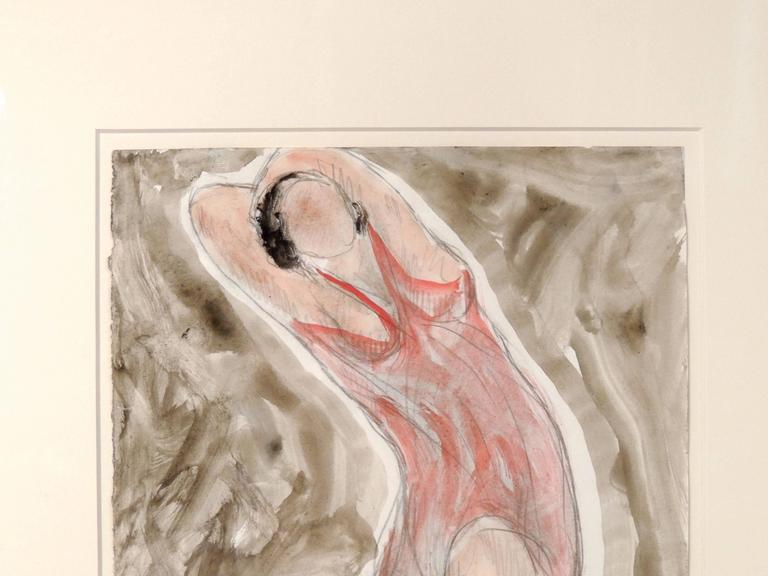 Paper Modernist Watercolored Drawing of Dancer Isadora Duncan, by Abraham Walkowitz For Sale