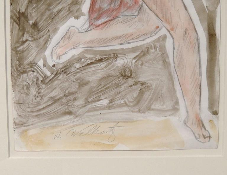 20th Century Modernist Watercolored Drawing of Dancer Isadora Duncan, by Abraham Walkowitz For Sale
