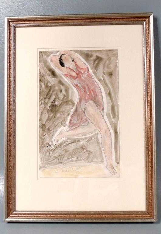 Modernist Watercolored Drawing of Dancer Isadora Duncan, by Abraham Walkowitz For Sale 2