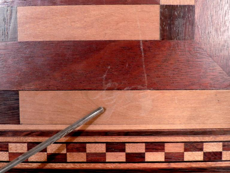20th Century Marquetry Inlaid Wooden Game Board for Chess, Checkers, and Parcheesi For Sale