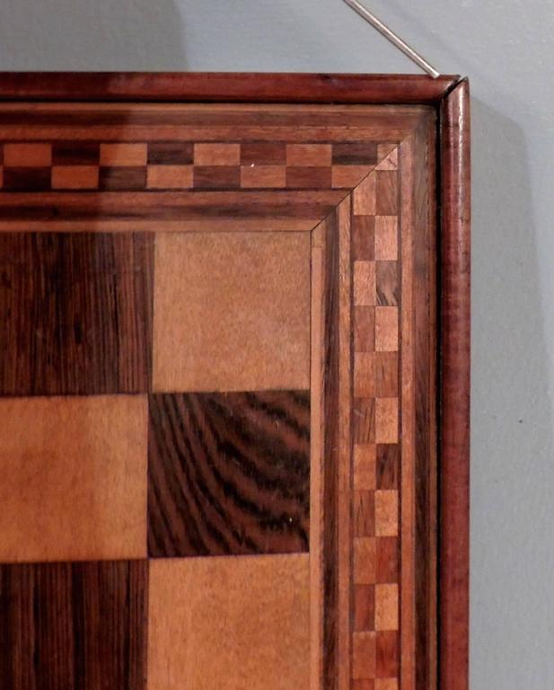 Marquetry Inlaid Wooden Game Board for Chess, Checkers, and Parcheesi In Good Condition For Sale In Philadelphia, PA