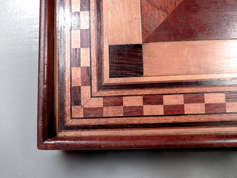 Marquetry Inlaid Wooden Game Board for Chess, Checkers, and Parcheesi 4