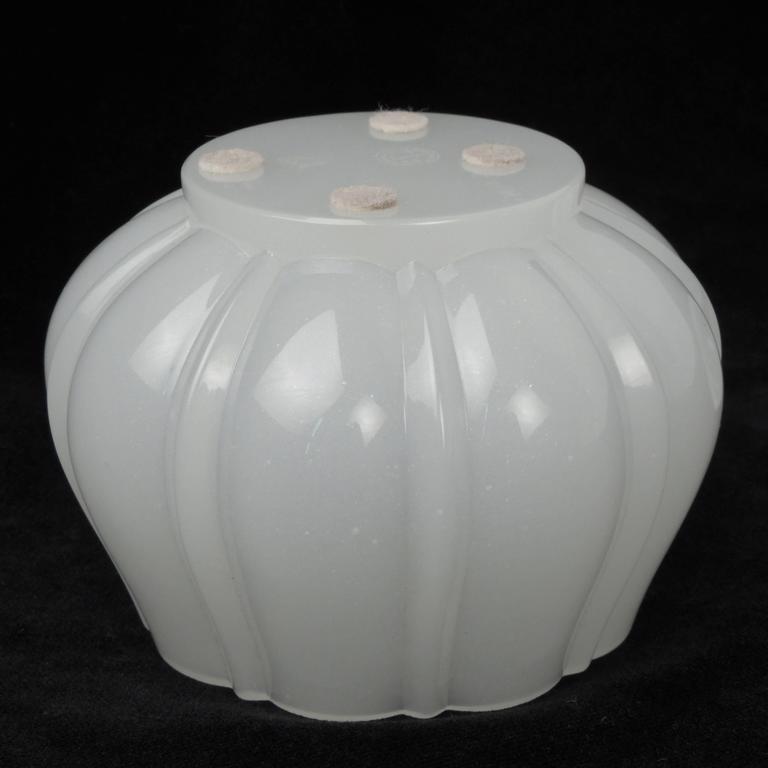 Fine Baccarat White Opaline Art Glass Pear Form Lidded Dresser Jar or Box For Sale 1