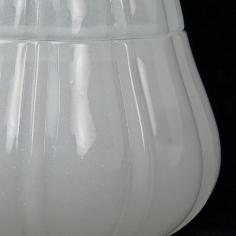 20th Century Fine Baccarat White Opaline Art Glass Pear Form Lidded Dresser Jar or Box For Sale