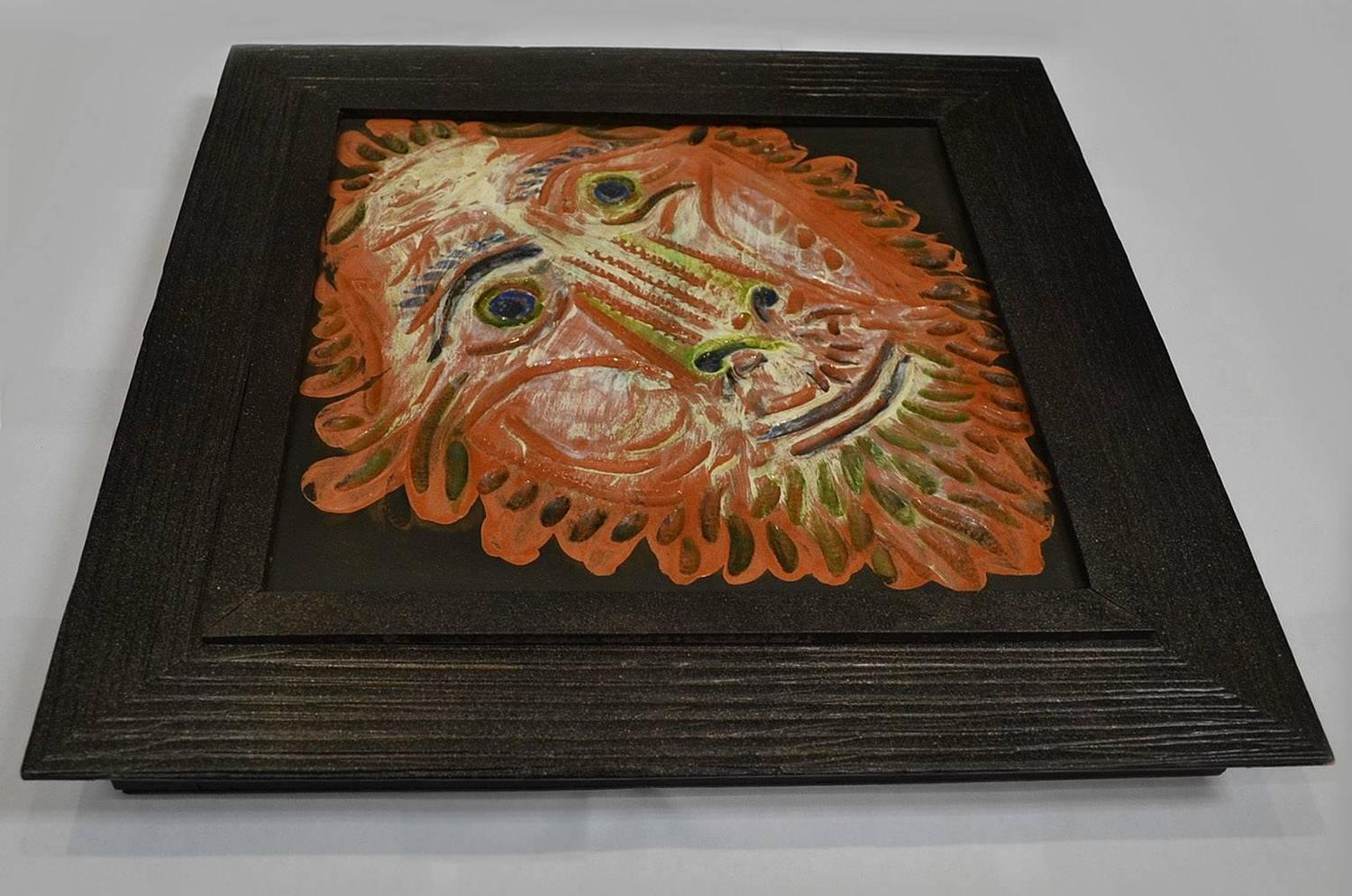 large tete de lion lion s head madoura pottery tile ar 575 by pablo picasso for sale at 1stdibs. Black Bedroom Furniture Sets. Home Design Ideas