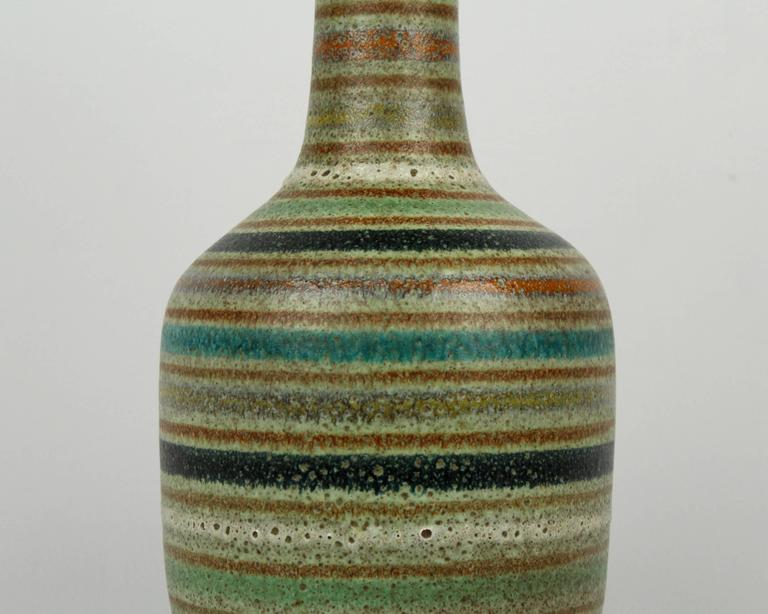 Large Mid Century Modern Thickly Glazed Bottle Form Striped Italian Ceramic Vase In Good