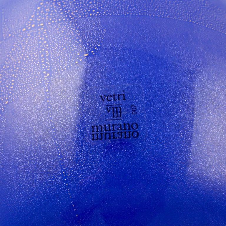 Blown Glass Large Vetri Murano Salviati & Co. Blue Italian Glass Vase For Sale