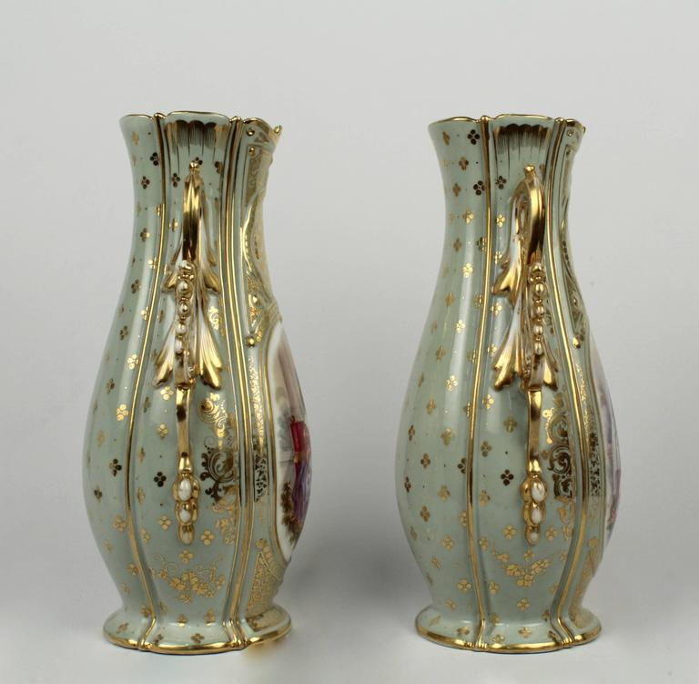 French Pair Large 19th Century Old Paris Porcelain Vases with Young Maidens For Sale