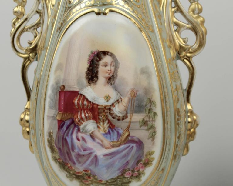 Hand-Painted Pair Large 19th Century Old Paris Porcelain Vases with Young Maidens For Sale