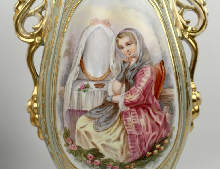 Pair Large 19th Century Old Paris Porcelain Vases with Young Maidens In Good Condition For Sale In Philadelphia, PA