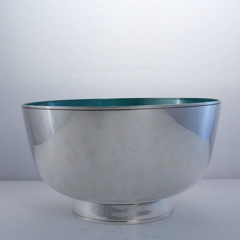 Outstanding Towle Sterling Silver Mid-Century Modern Enameled Punch Bowl Set 6
