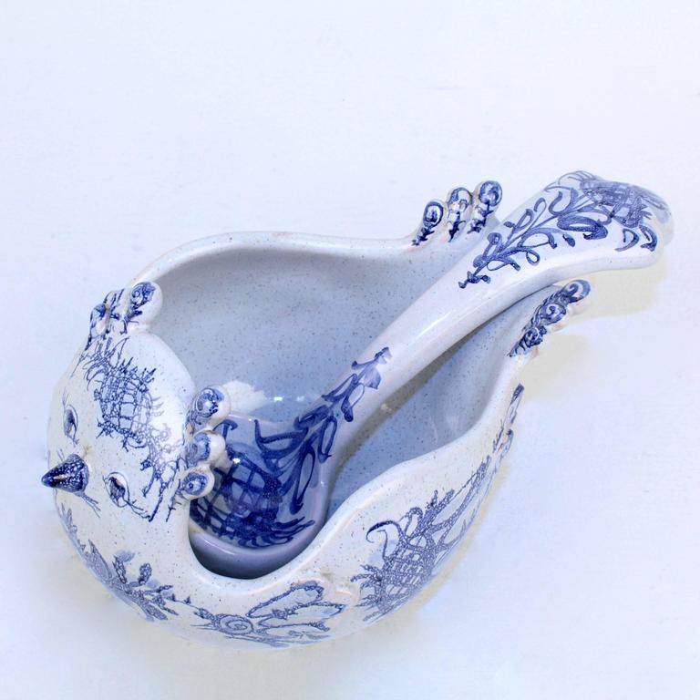 Mid-20th Century Bjorn Wiinblad Studio Pottery Figural Bird Bowl & Serving Spoon Set, 1960 For Sale