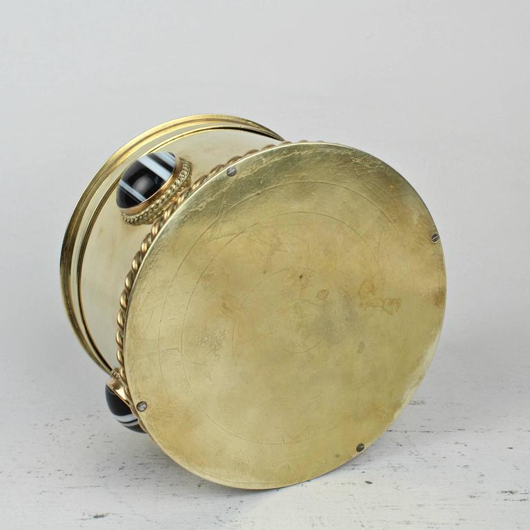 19th Century Round English Men's Dresser Box with Banded Agate Cabochons For Sale 2