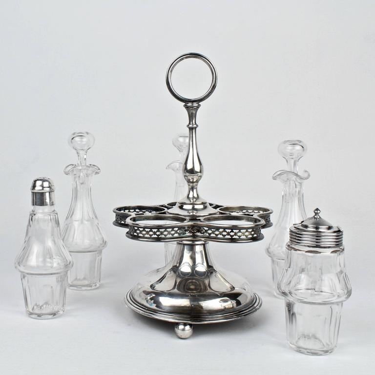 Christofle Silver Plate And Baccarat Crystal Cruet Set And
