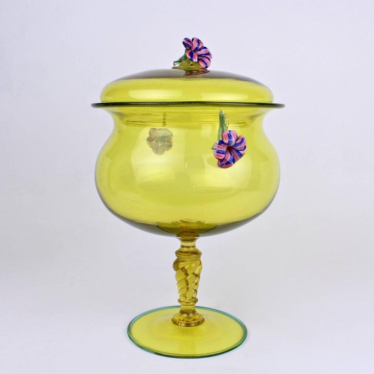Italian Large Canary Yellow Venetian/Murano Glass Covered Footed Bowl with Flower Finial For Sale