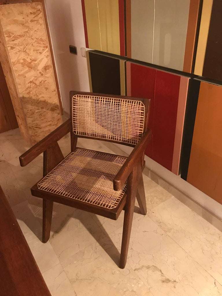 Pierre Jeanneret Teak Six Office Cane Armchairs for Chandigarh, India 1.950s For Sale 2