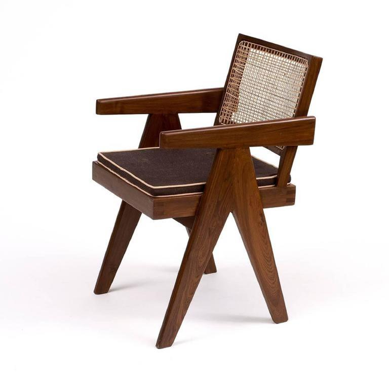 "This teak six "" Office Cane Armchairs "" designed by Pierre Jeanneret for Chandigarh administtrative buildings in India in 1950s. Jeanneret's simplistic design, with bended and slightly curved back, highlights the inherent beauty and integrity of"