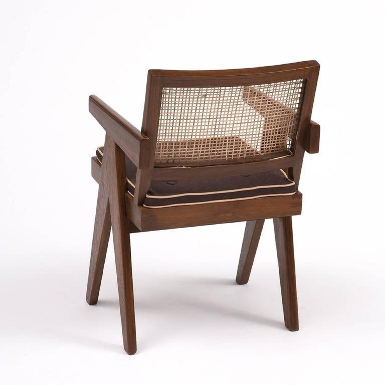 Mid-Century Modern  Pierre Jeanneret Teak Six Office Cane Armchairs for Chandigarh, India 1.950s For Sale