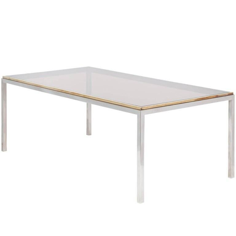 """Rizzo Rectangular Chromed Steel and Brass Dining Table """"Flaminia"""", 1970"""