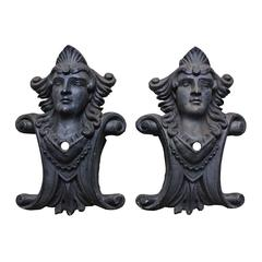 Cast Iron Figural Bust Architectural Plaques, Set of Two