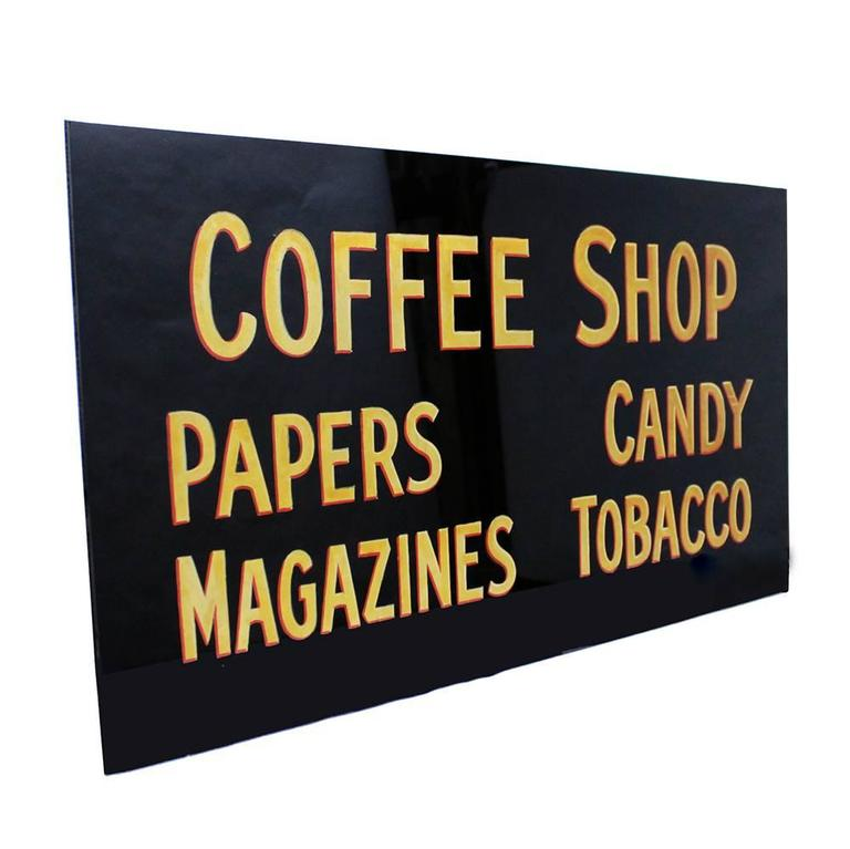 Vintage 1930s Glass Coffee Shop Sign 2