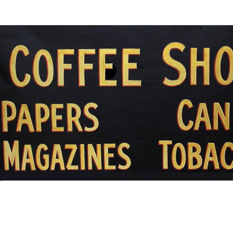 Vintage 1930s Glass Coffee Shop Sign 3