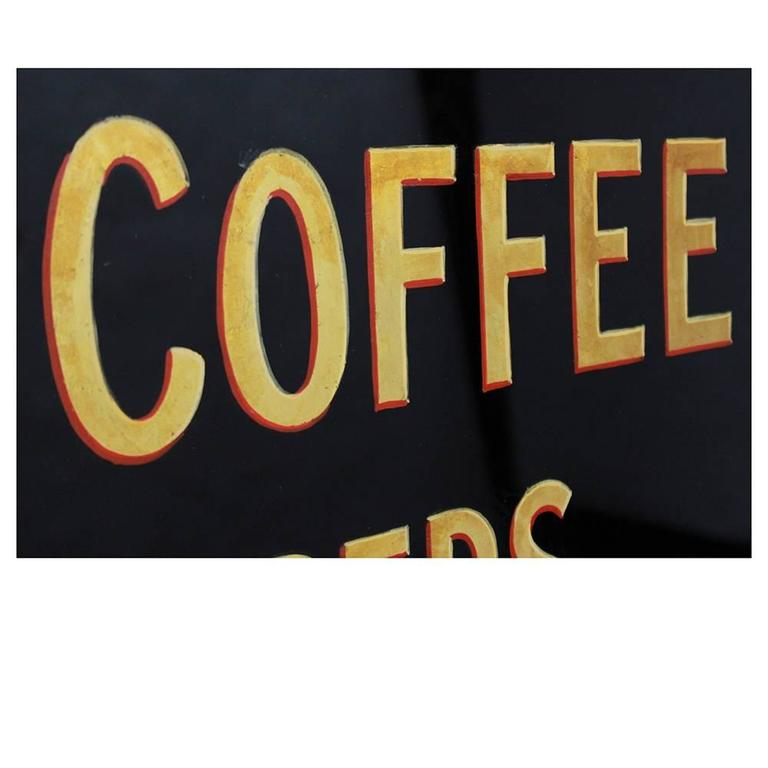 Vintage 1930s Glass Coffee Shop Sign 4