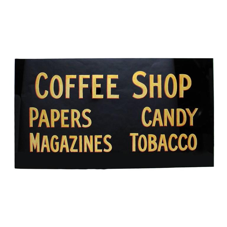 Vintage 1930s Glass Coffee Shop Sign 1