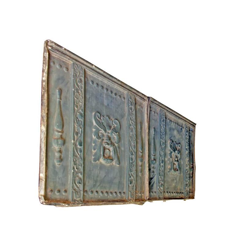 """Zinc Alloy """"Green Man"""" Architectural Panels In Distressed Condition For Sale In Aurora, OR"""