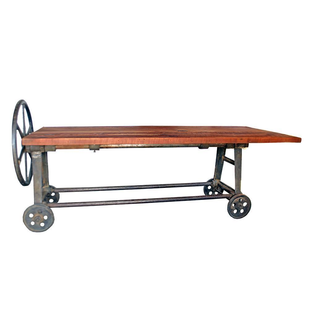 Industrial Coffee Table On Wheels At 1stdibs: Industrial Clamping Wheel Table For Sale At 1stdibs