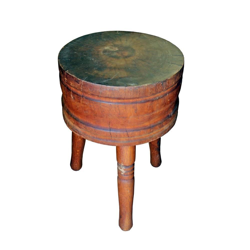 primitive round butcher block for sale at 1stdibs