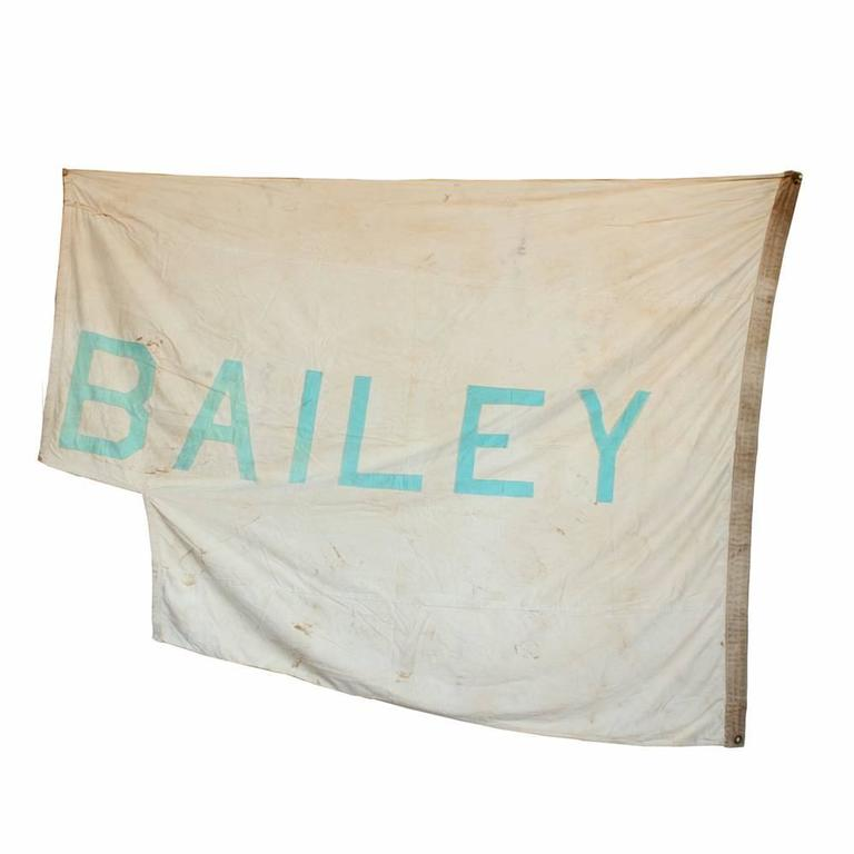 These vintage circus flags come from the days of the Ringling, Barnum, and Bailey Big Top Circus, when traveling tents were still transported and raised at hundreds of locations across the country. The flags are handmade and show signs of some