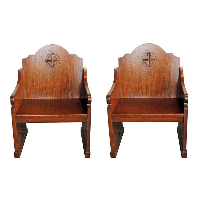 Oak Church Altar Chairs (S/2) 1